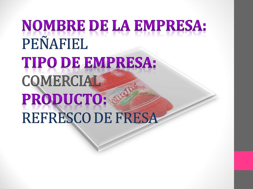 NOMBRE DE LA EMPRESA: PEÑAFIEL TIPO DE EMPRESA: COMERCIAL PRODUCTO: REFRESCO DE FRESA