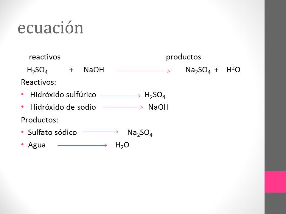 ecuación reactivos productos H2SO4 + NaOH Na2SO4 + H2O Reactivos: