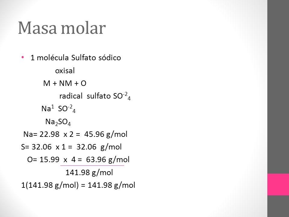 Masa molar 1 molécula Sulfato sódico oxisal M + NM + O
