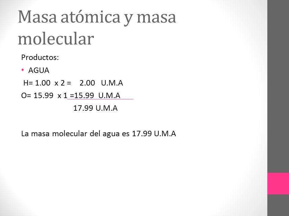 Masa atómica y masa molecular