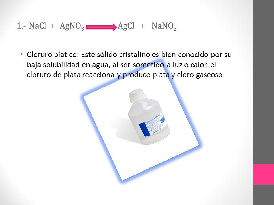 1.- NaCl + AgNO3 AgCl + NaNO3