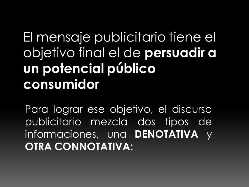 El mensaje publicitario tiene el objetivo final el de persuadir a un potencial público consumidor
