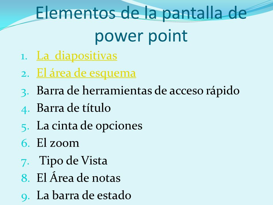 Elementos de la pantalla de power point