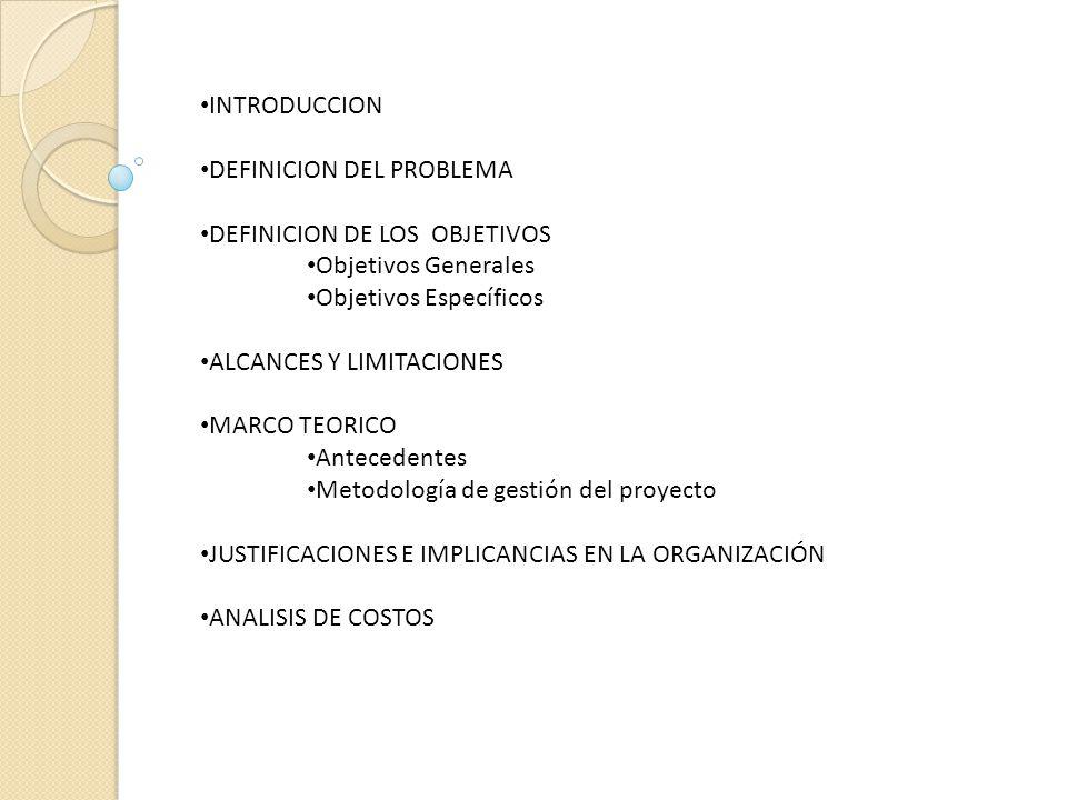 INTRODUCCION DEFINICION DEL PROBLEMA. DEFINICION DE LOS OBJETIVOS. Objetivos Generales. Objetivos Específicos.