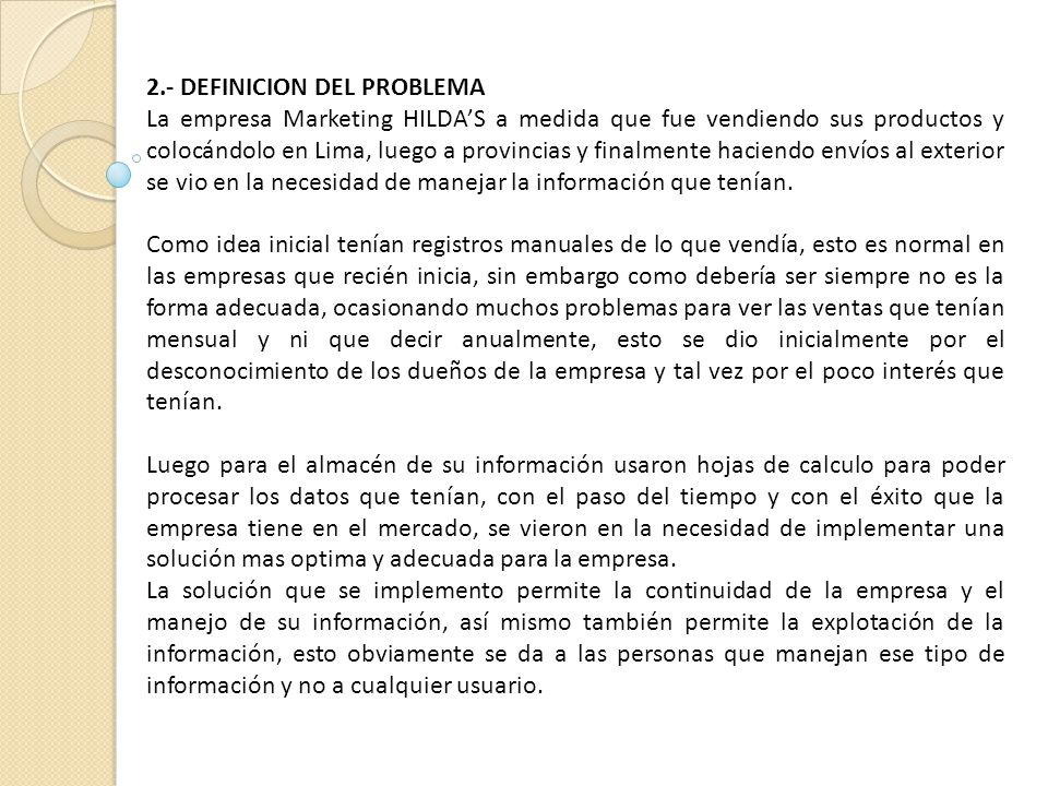 2.- DEFINICION DEL PROBLEMA
