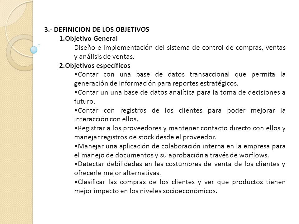 3.- DEFINICION DE LOS OBJETIVOS