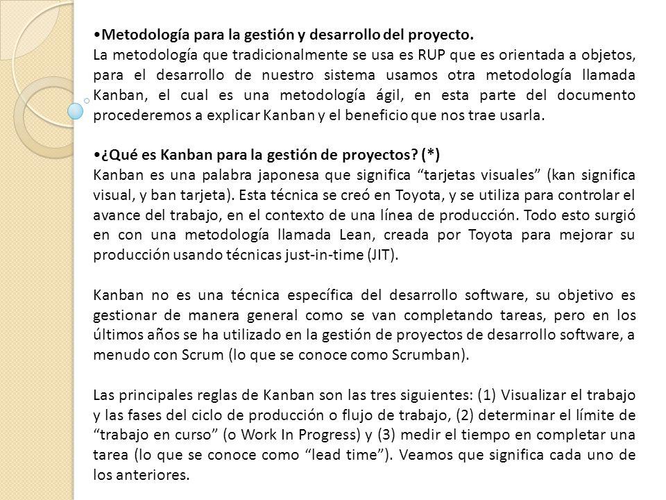 Metodología para la gestión y desarrollo del proyecto.