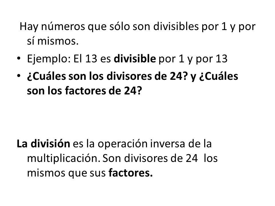 Hay números que sólo son divisibles por 1 y por sí mismos.