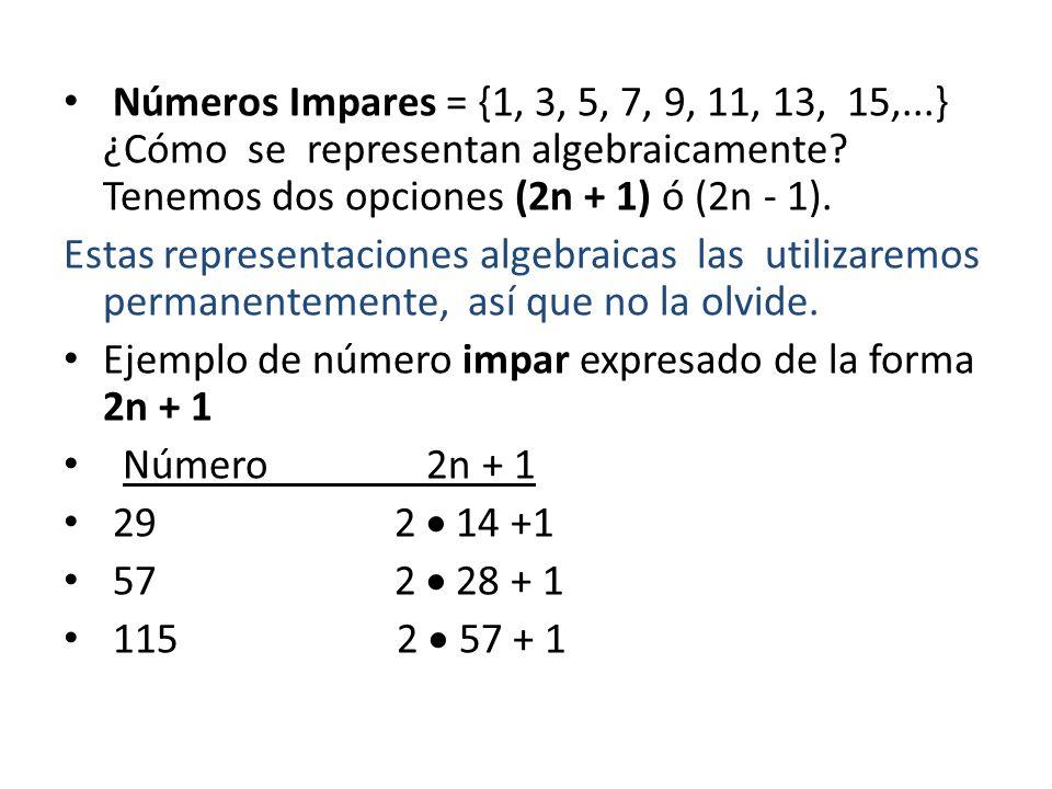 Números Impares = {1, 3, 5, 7, 9, 11, 13, 15,...} ¿Cómo se representan algebraicamente Tenemos dos opciones (2n + 1) ó (2n - 1).