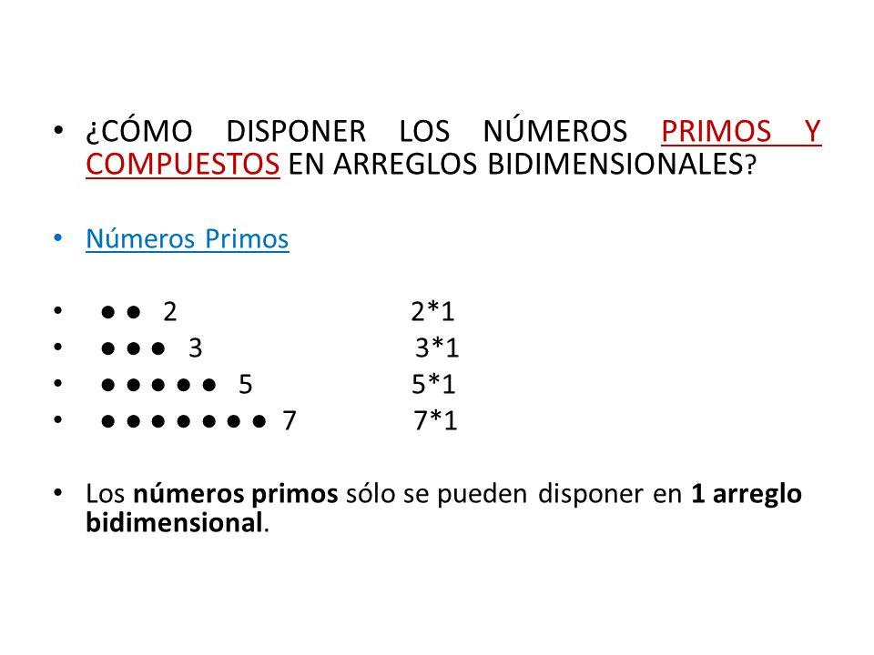 ¿CÓMO DISPONER LOS NÚMEROS PRIMOS Y COMPUESTOS EN ARREGLOS BIDIMENSIONALES Números Primos. ● ● 2 2*1.