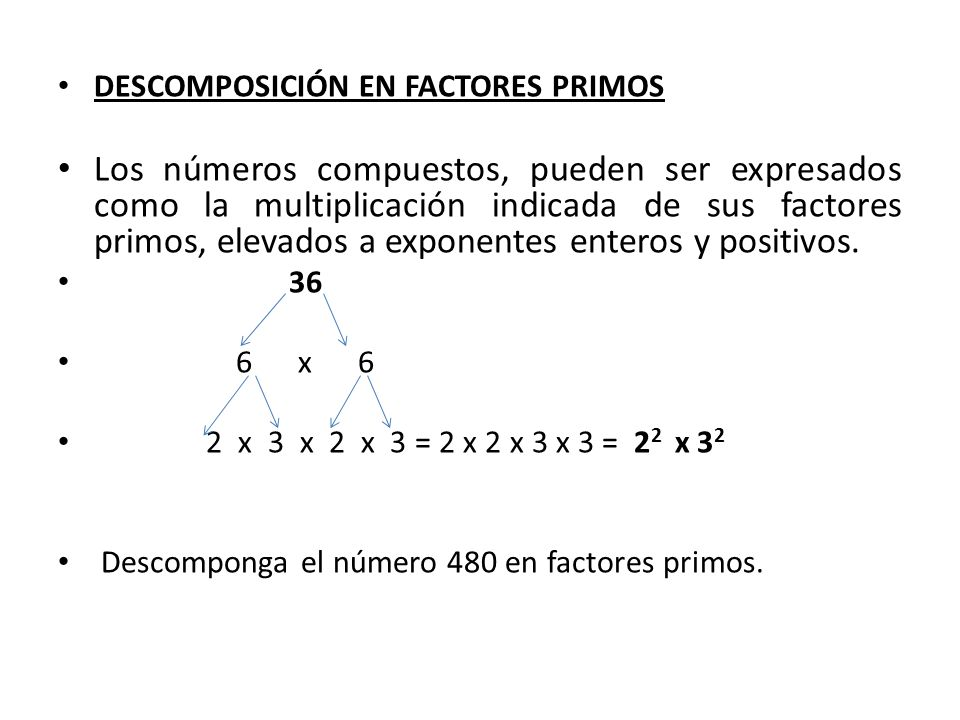 DESCOMPOSICIÓN EN FACTORES PRIMOS