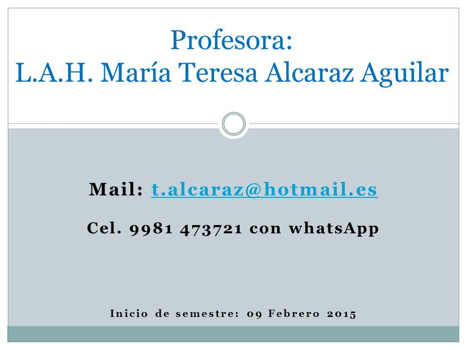 Profesora: L.A.H. María Teresa Alcaraz Aguilar