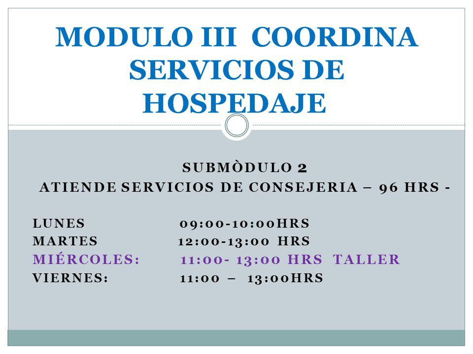 MODULO III COORDINA SERVICIOS DE HOSPEDAJE