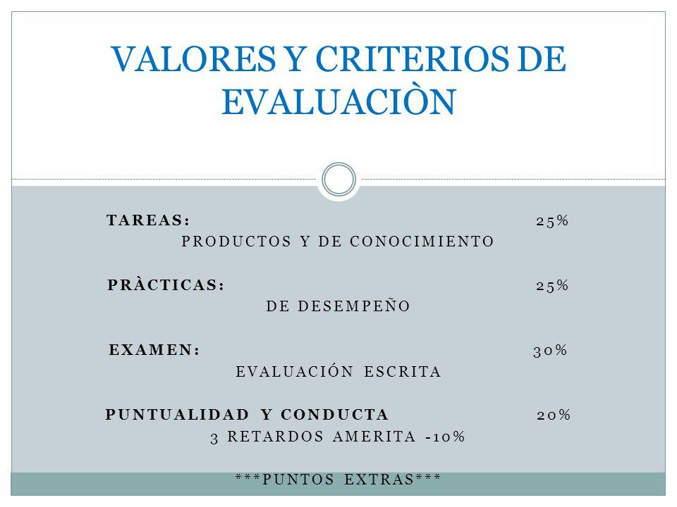 VALORES Y CRITERIOS DE EVALUACIÒN