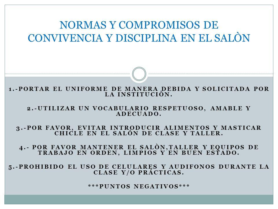 NORMAS Y COMPROMISOS DE CONVIVENCIA Y DISCIPLINA EN EL SALÒN