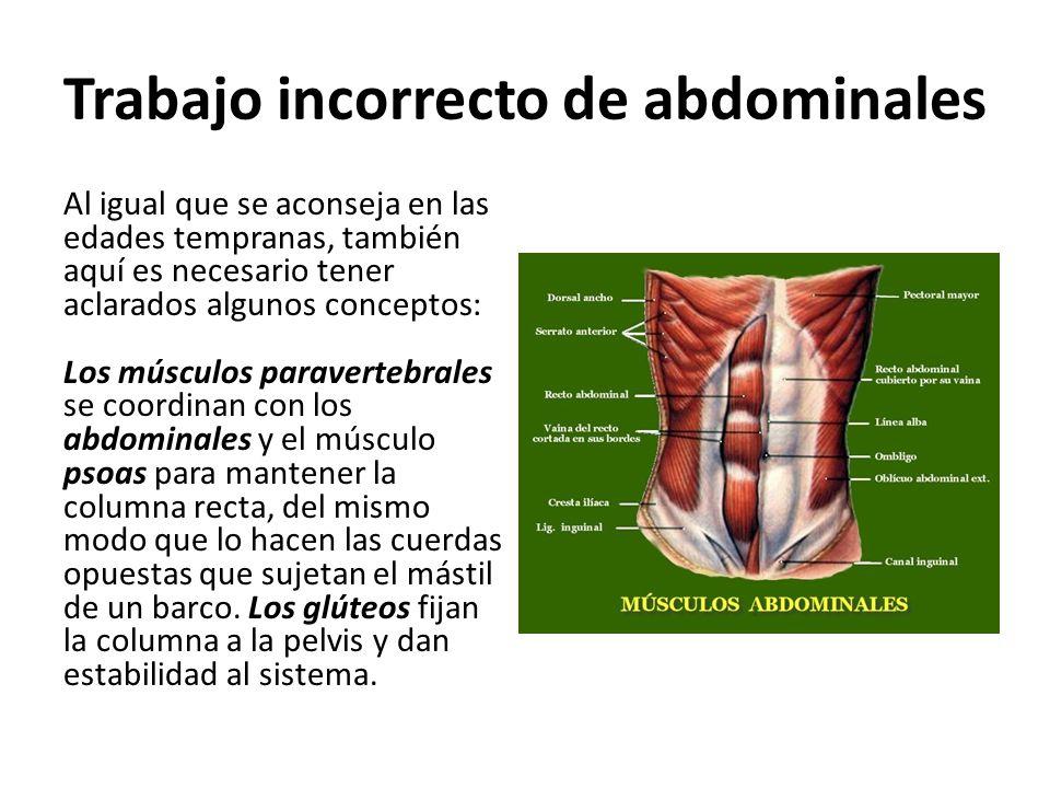 Trabajo incorrecto de abdominales