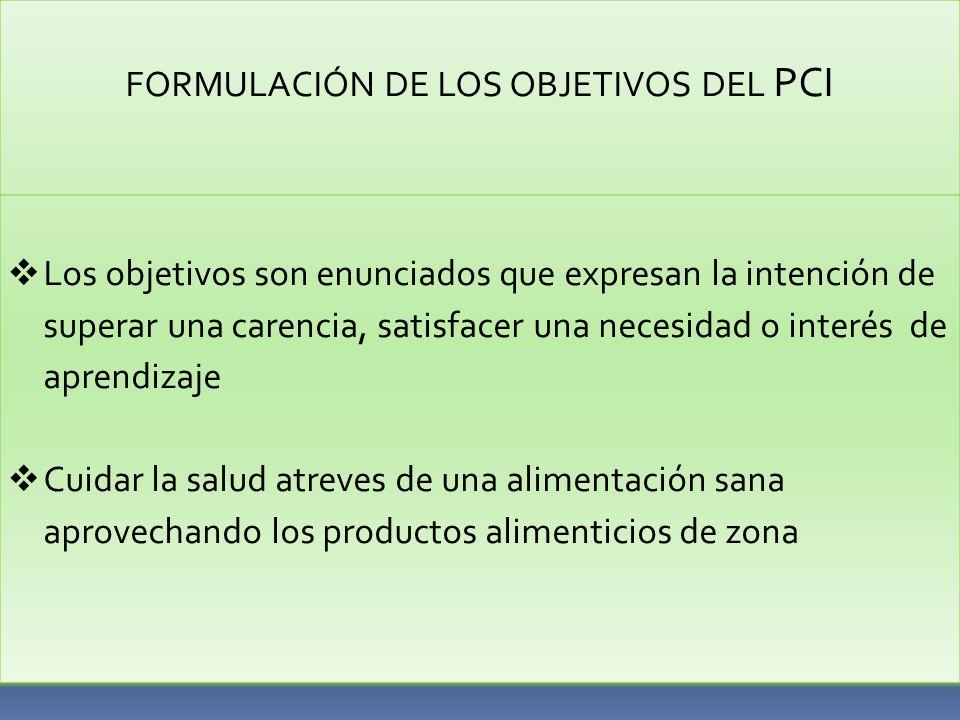 FORMULACIÓN DE LOS OBJETIVOS DEL PCI