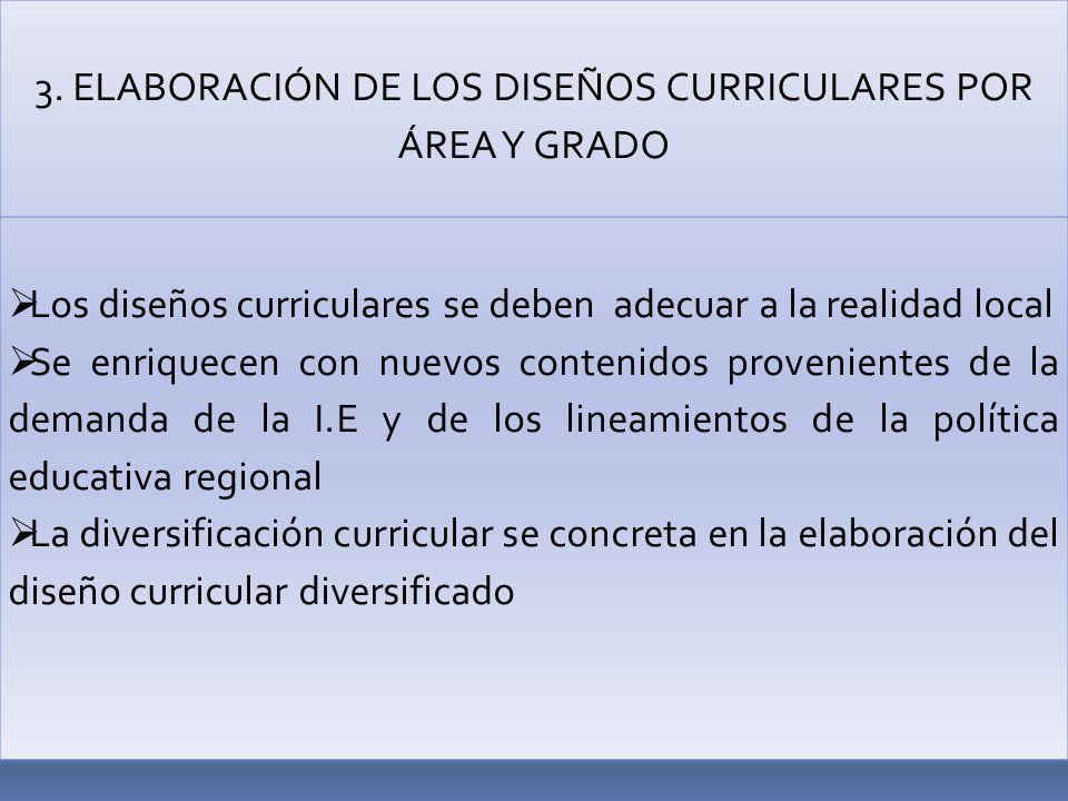 3. ELABORACIÓN DE LOS DISEÑOS CURRICULARES POR ÁREA Y GRADO