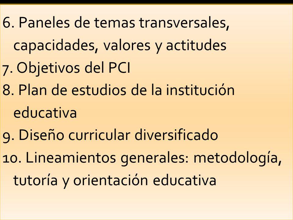 6. Paneles de temas transversales, capacidades, valores y actitudes