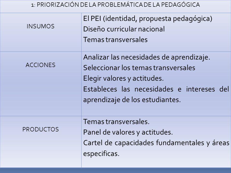1: PRIORIZACIÓN DE LA PROBLEMÁTICA DE LA PEDAGÓGICA