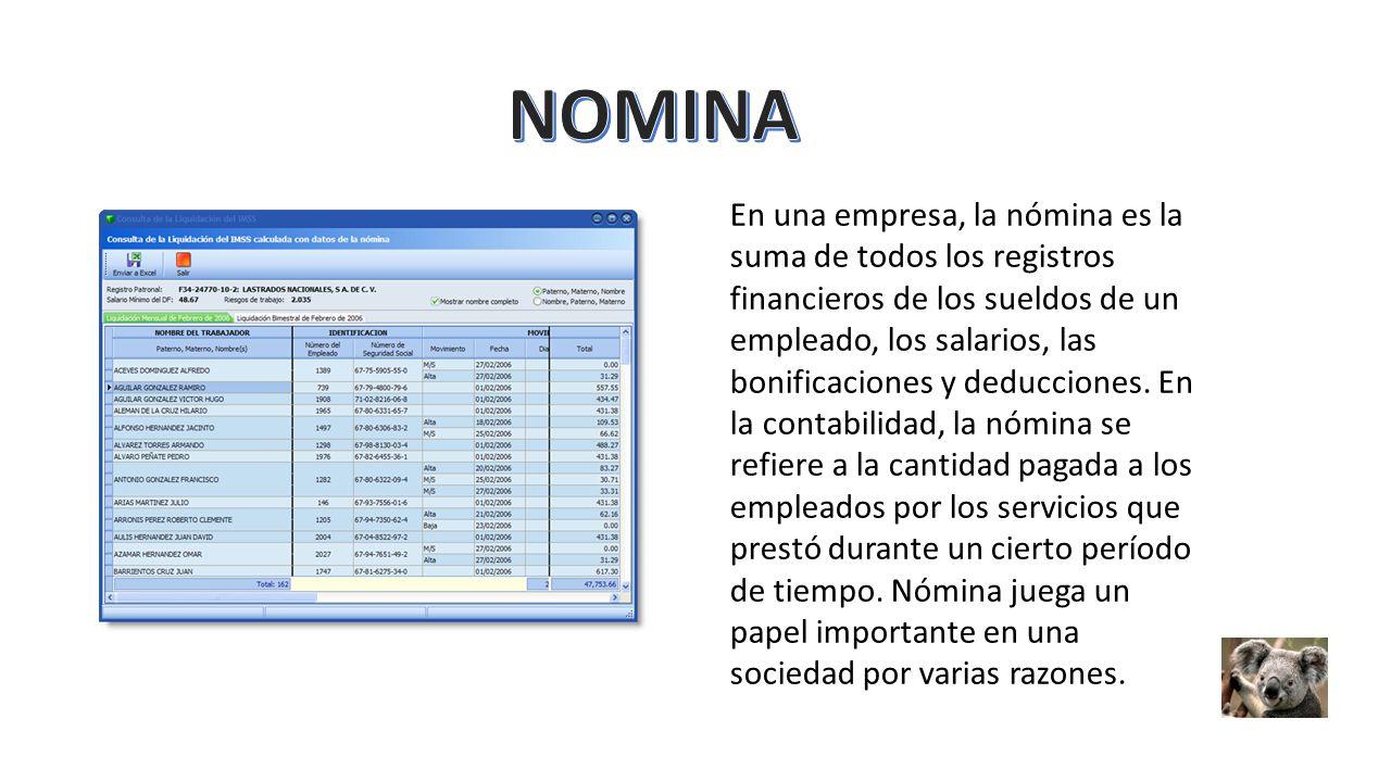 Registro De Nomina Registro De Nomina Contabilidad