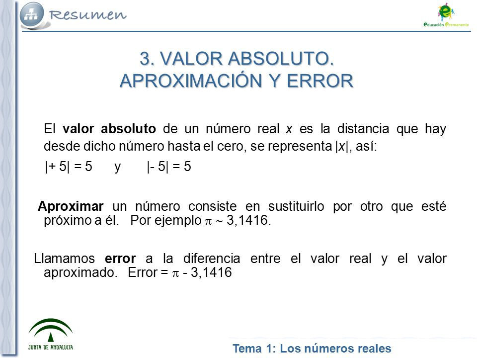 3. VALOR ABSOLUTO. APROXIMACIÓN Y ERROR