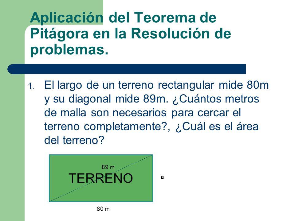 Aplicación del Teorema de Pitágora en la Resolución de problemas.