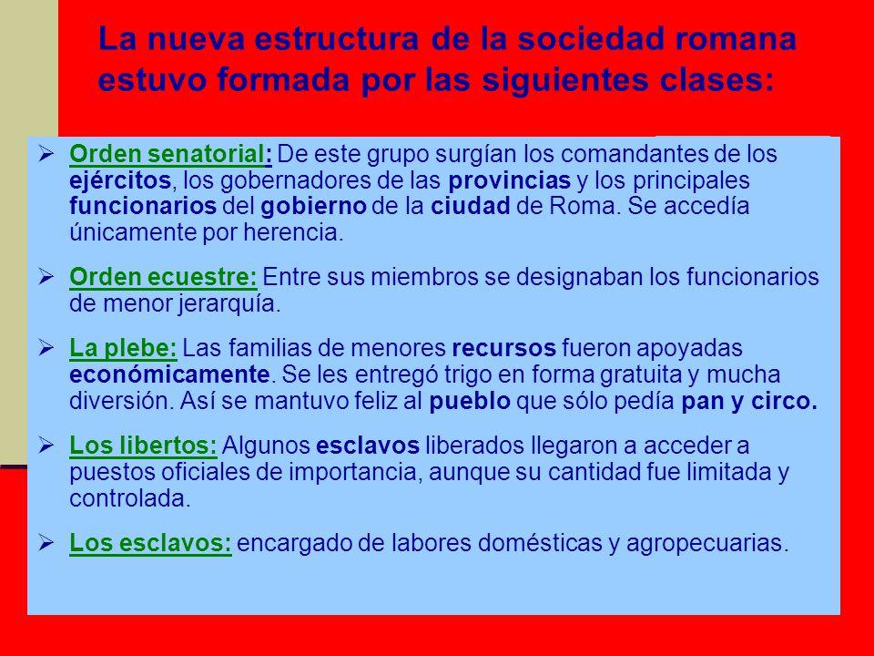 La nueva estructura de la sociedad romana estuvo formada por las siguientes clases: