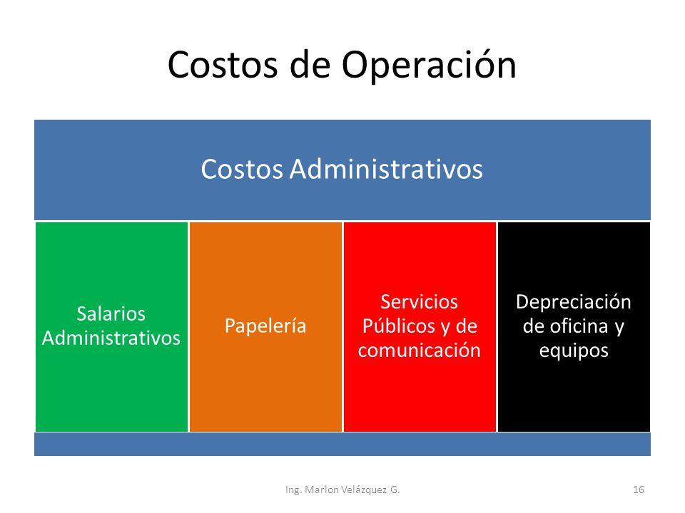Costos de Operación Costos Administrativos Salarios Administrativos