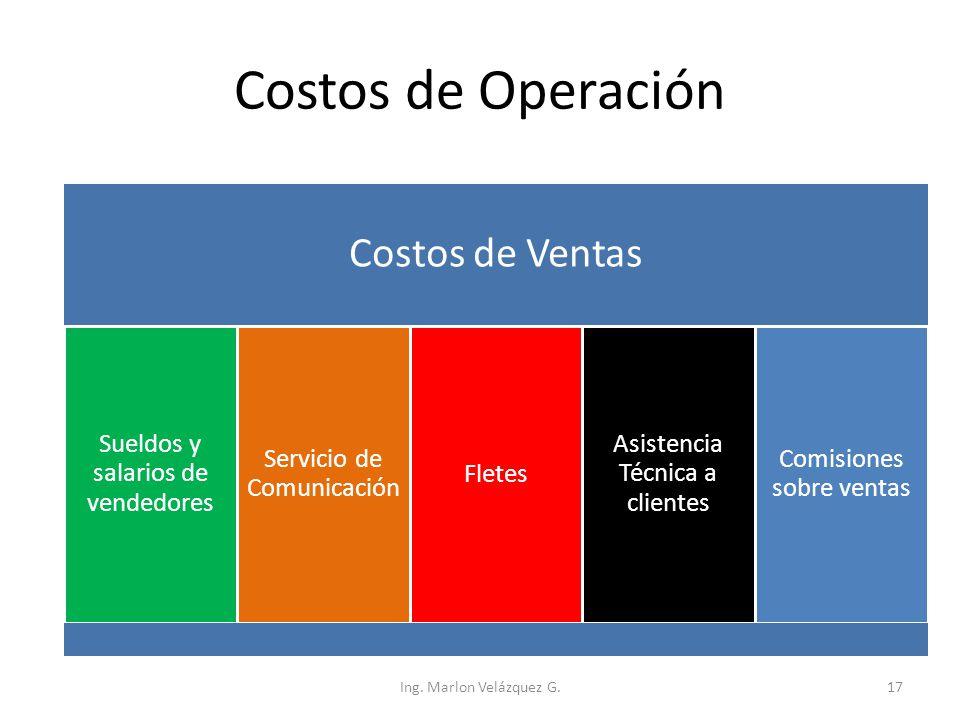 Costos de Operación Costos de Ventas Sueldos y salarios de vendedores