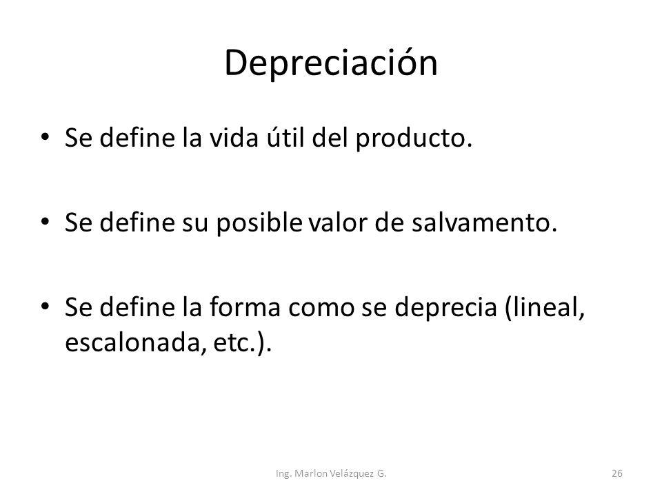 Depreciación Se define la vida útil del producto.