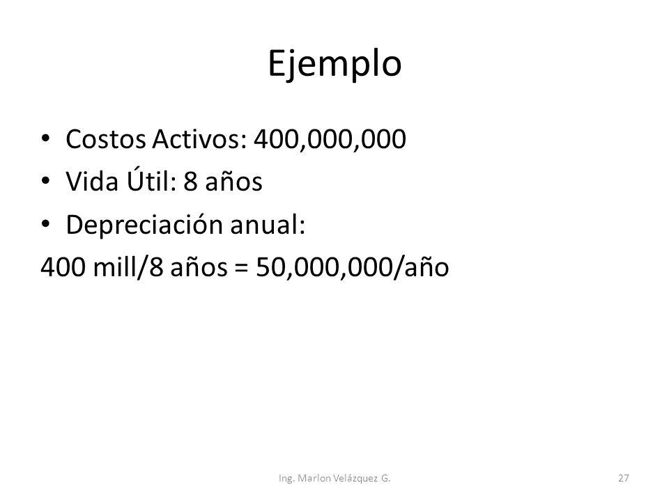 Ejemplo Costos Activos: 400,000,000 Vida Útil: 8 años