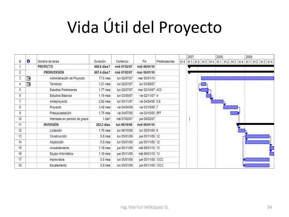 Vida Útil del Proyecto Ing. Marlon Velázquez G.
