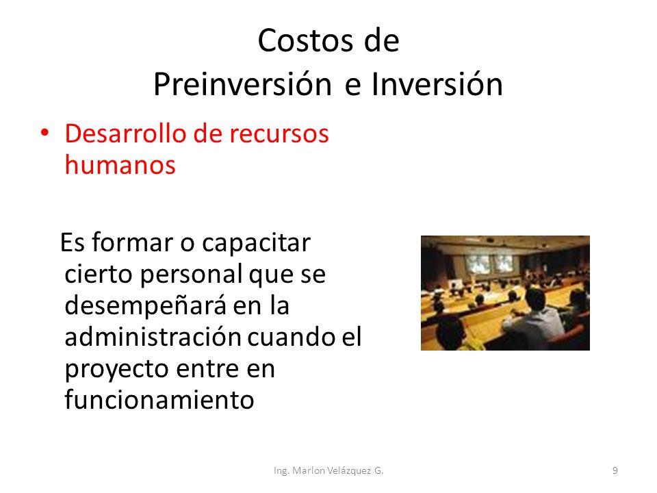 Costos de Preinversión e Inversión