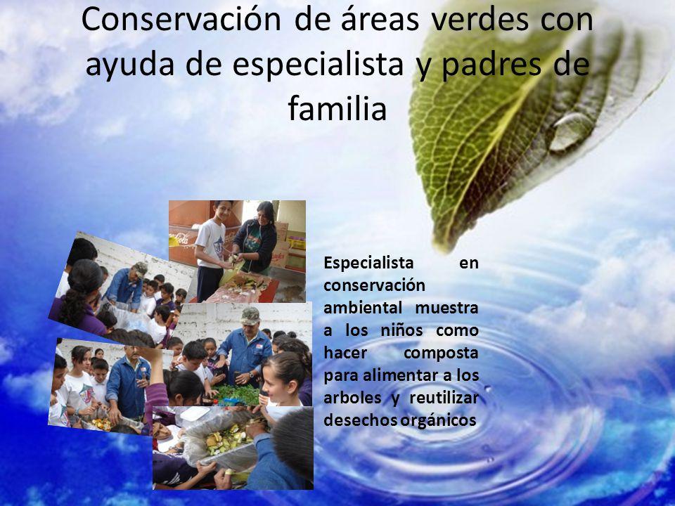 Conservación de áreas verdes con ayuda de especialista y padres de familia