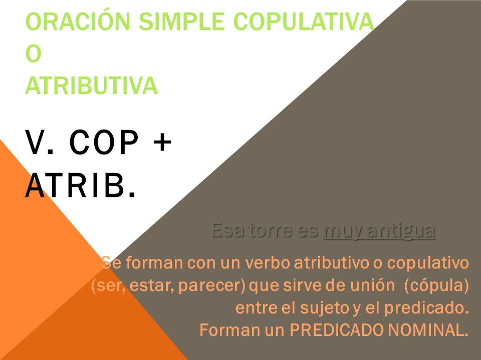 Oración simple copulativa o atributiva