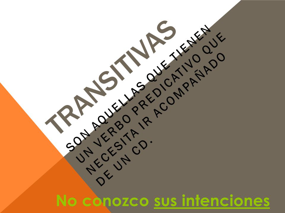 Transitivas No conozco sus intenciones