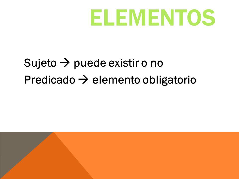 Elementos Sujeto  puede existir o no Predicado  elemento obligatorio