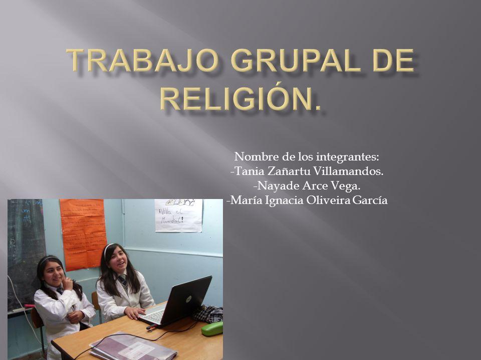 Trabajo grupal de religión.