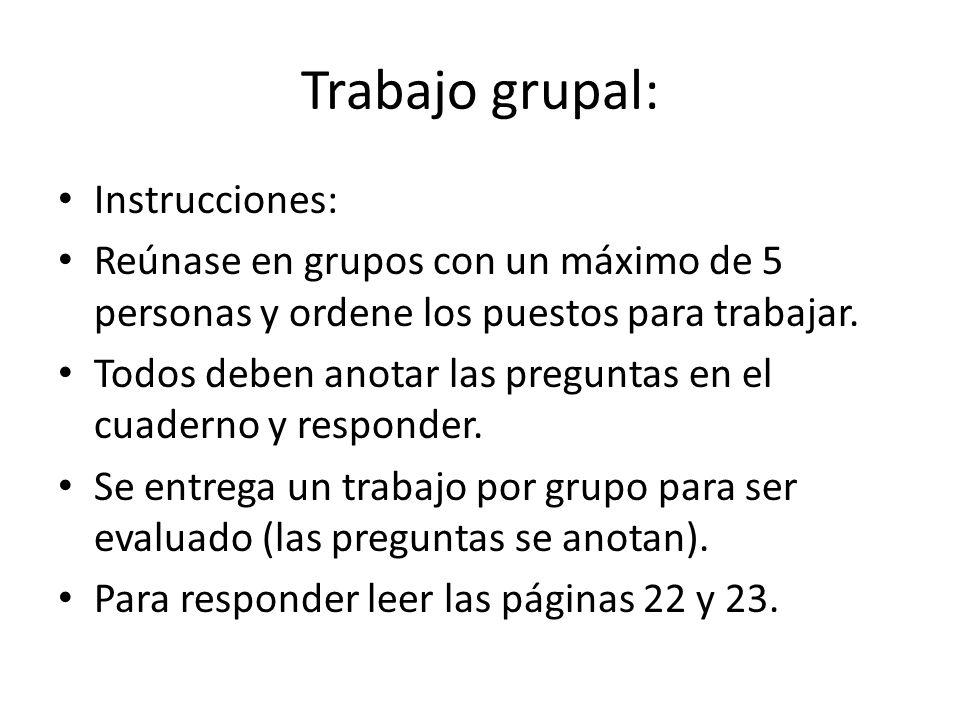 Trabajo grupal: Instrucciones: