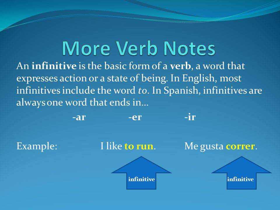More Verb Notes An infinitive is the basic form of a verb, a word ...