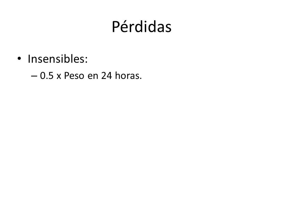 Pérdidas Insensibles: 0.5 x Peso en 24 horas.