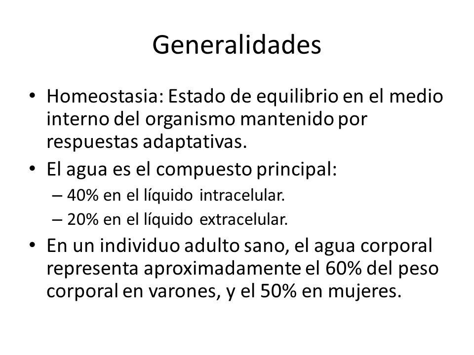 Generalidades Homeostasia: Estado de equilibrio en el medio interno del organismo mantenido por respuestas adaptativas.