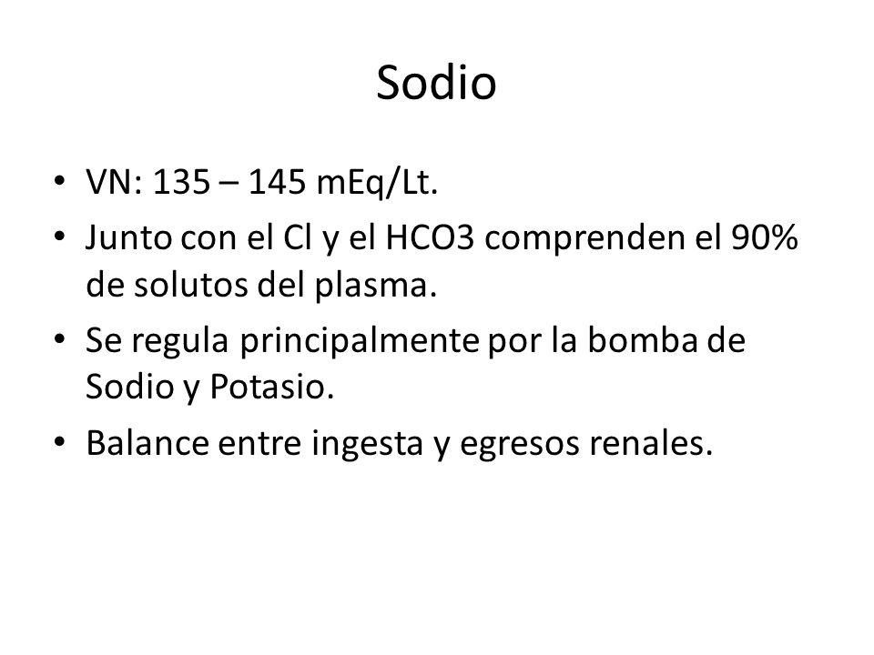 Sodio VN: 135 – 145 mEq/Lt. Junto con el Cl y el HCO3 comprenden el 90% de solutos del plasma.