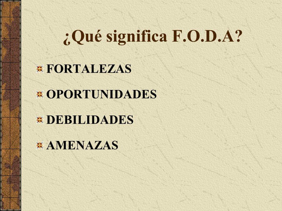 ¿Qué significa F.O.D.A FORTALEZAS OPORTUNIDADES DEBILIDADES AMENAZAS