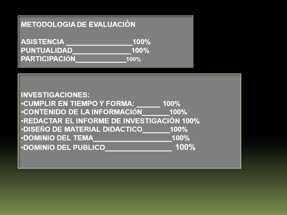 METODOLOGIA DE EVALUACIÓN