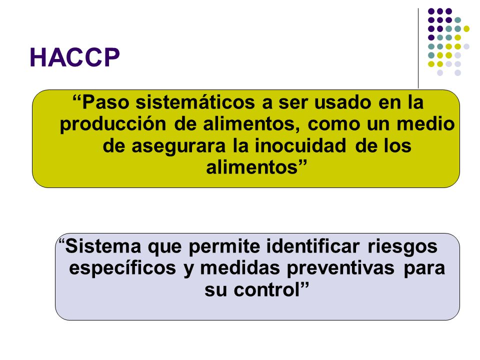 HACCP Paso sistemáticos a ser usado en la producción de alimentos, como un medio de asegurara la inocuidad de los alimentos