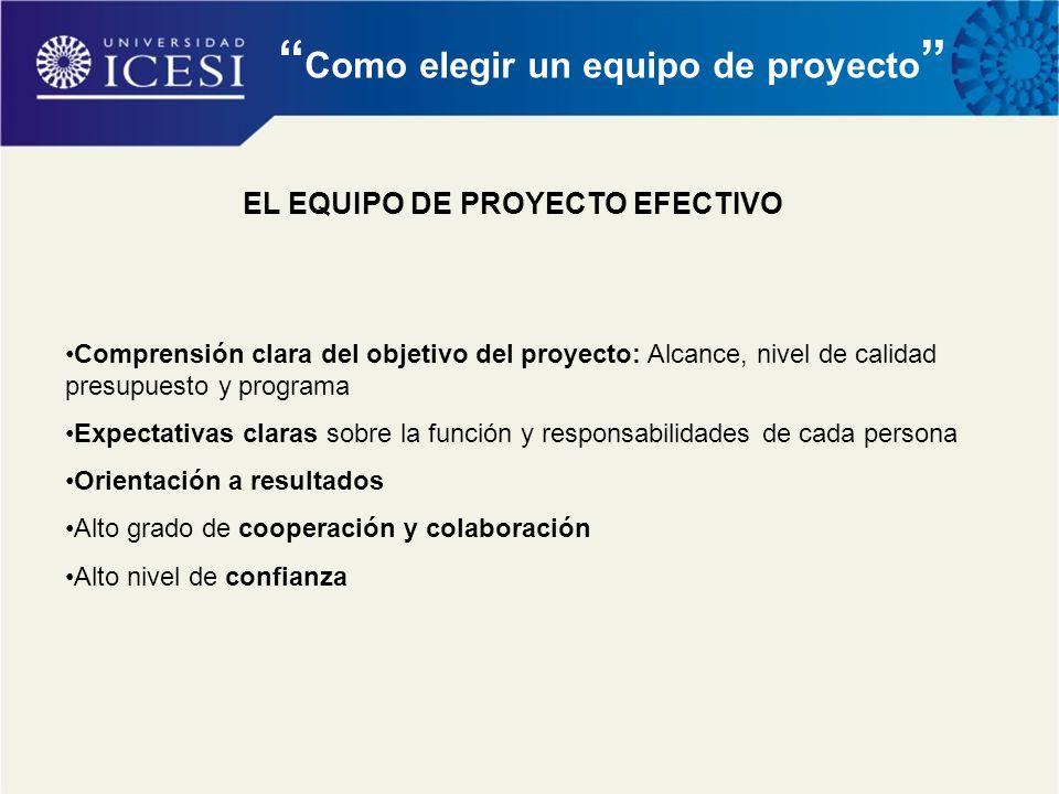 Como elegir un equipo de proyecto EL EQUIPO DE PROYECTO EFECTIVO