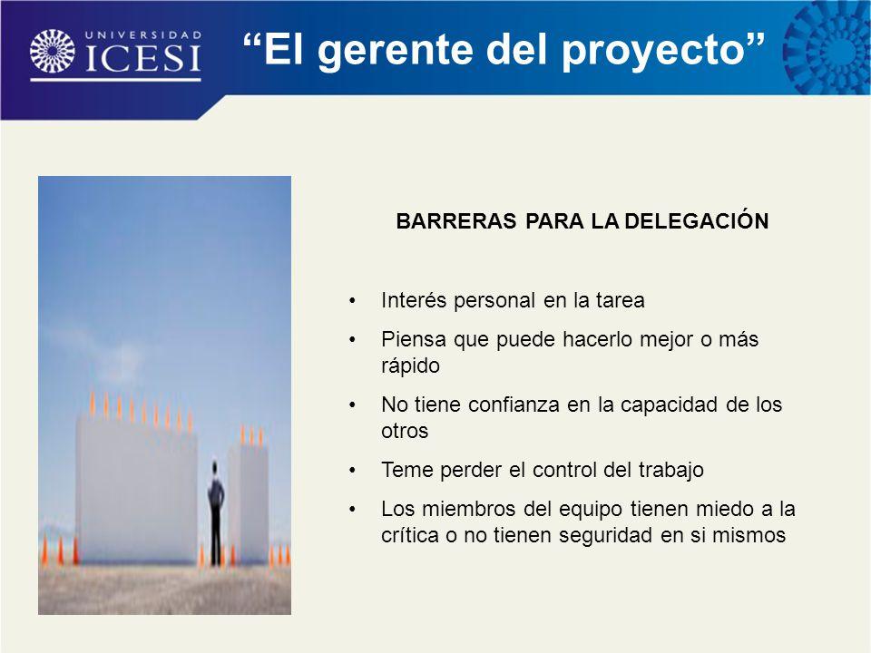 El gerente del proyecto BARRERAS PARA LA DELEGACIÓN