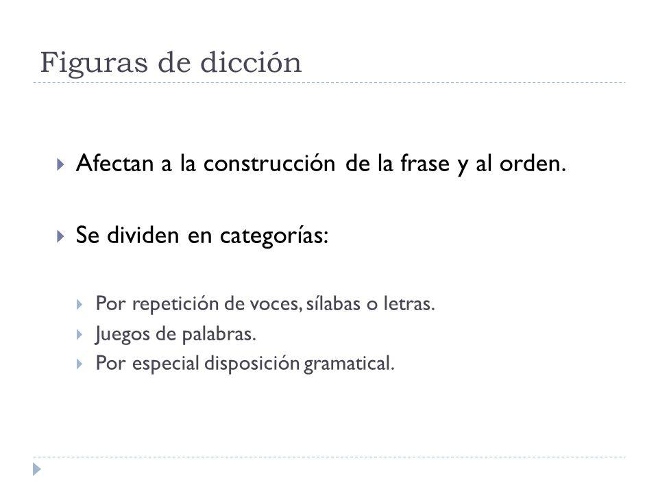 Figuras de dicción Afectan a la construcción de la frase y al orden.